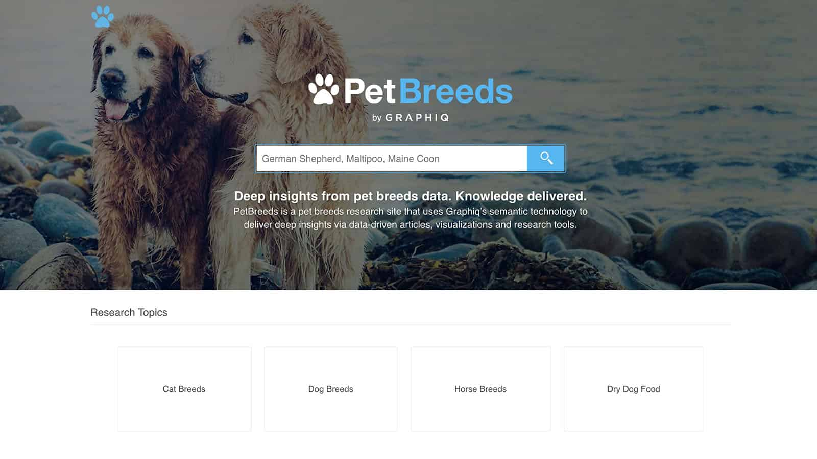 The Homepage of PetBreeds.com when it was live